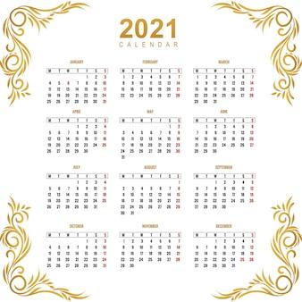 Modern calendar 2021 for ornamental floral design
