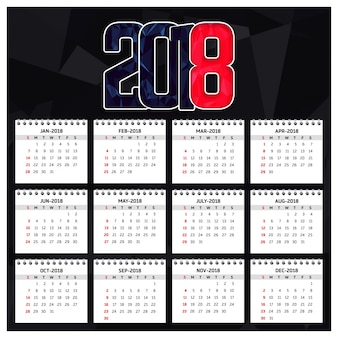 2018 happy new year callendarテンプレート