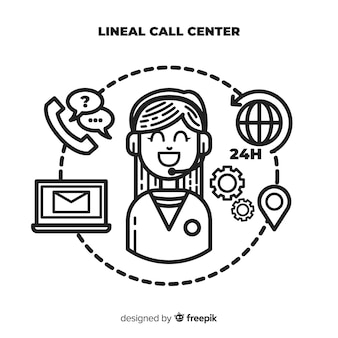 Modern call center background in lineal style
