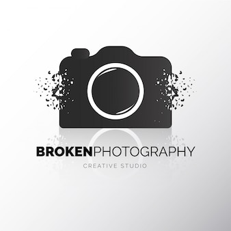 Modern camera broken logotype
