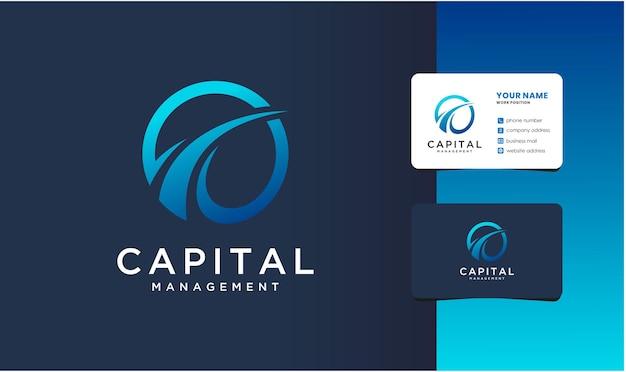 명함 디자인의 현대적인 자본 관리 로고.