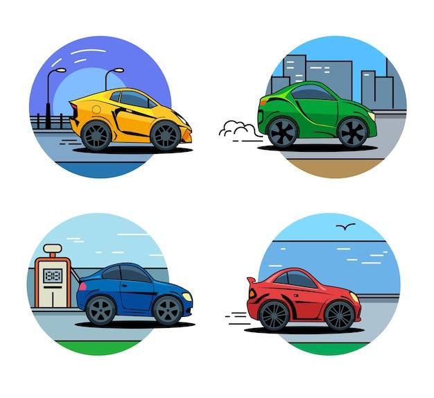 現代の自動車アートは、ベクトルグラフィックを分離しました。ベクトル車のアイコン。フラットスタイルの車のアイコン、バッジ、ロゴ。現代の自動車分離ベクトルグラフィック