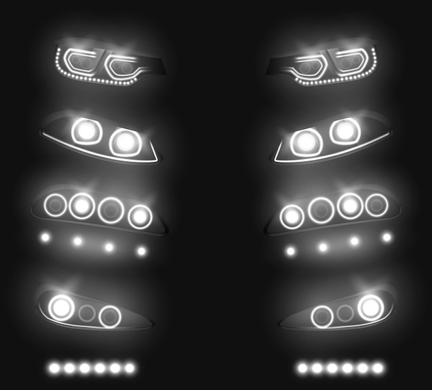 Modern car front, back headlights realistic vector set. switched and glowing white in darkness, vehicle led, xenon or laser running lights illustration isolated on black. auto industry equipment