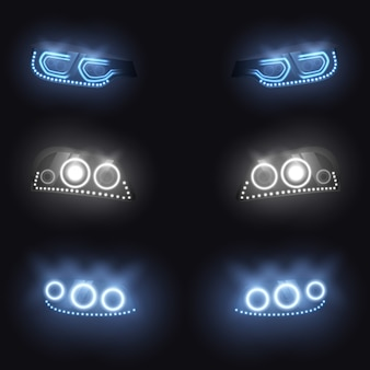 Modern car front or back headlights with xenon