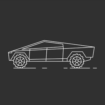 現代の車のイラスト。アウトラインスタイルアイコン