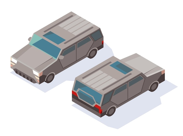 Modern car in isometric view