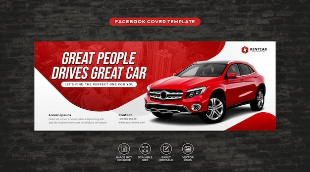 Modern car rent and sale social media facebook cover template vector