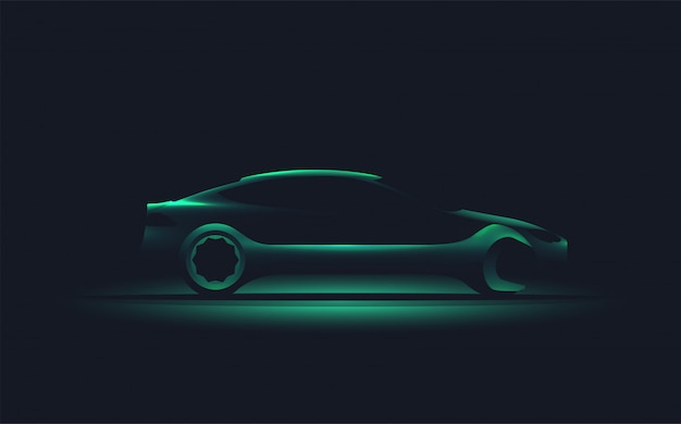 Modern   of the car silhouette with wrench.