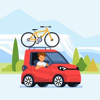 Современный автомобиль с велосипедом, установленным на багажнике на крыше. иллюстрация