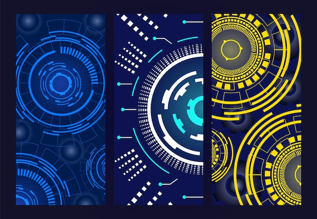 Modern cards with neon lines set vector illustration wallpaper objects graphic design poster with te...
