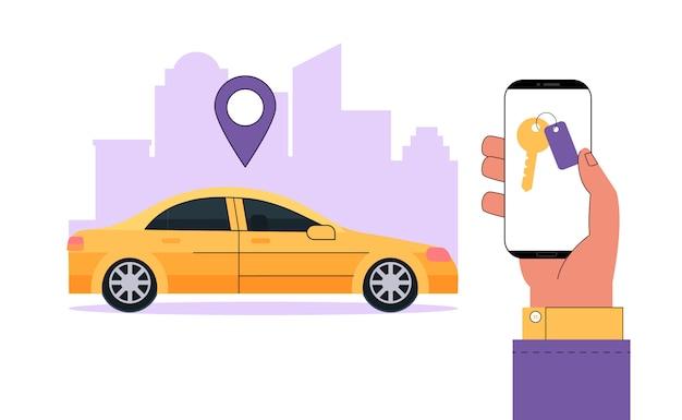 モダンなカーシェアリングまたはレンタカーサービスのコンセプト。手は、車の位置を見つけるためのアプリと情報をスマートフォンに持っています。