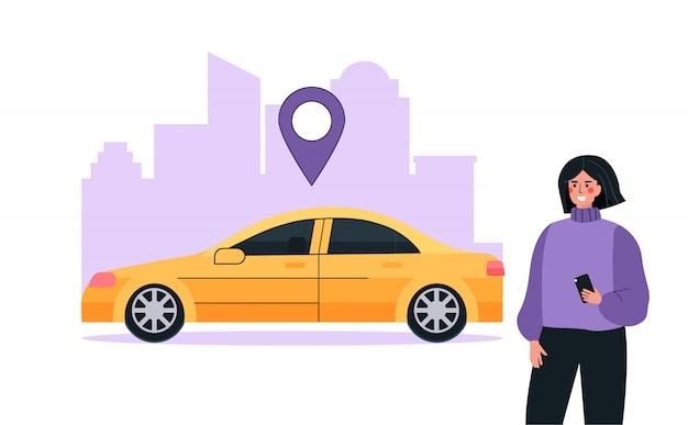 モダンなカーシェアリングまたはレンタカーサービスのコンセプト。女性はモバイルアプリケーションを使用して、地図上の場所で車を検索します。