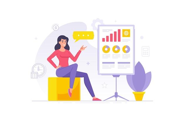 Современный мультипликационный персонаж бизнес-леди, показывающий презентацию плаката инфографики