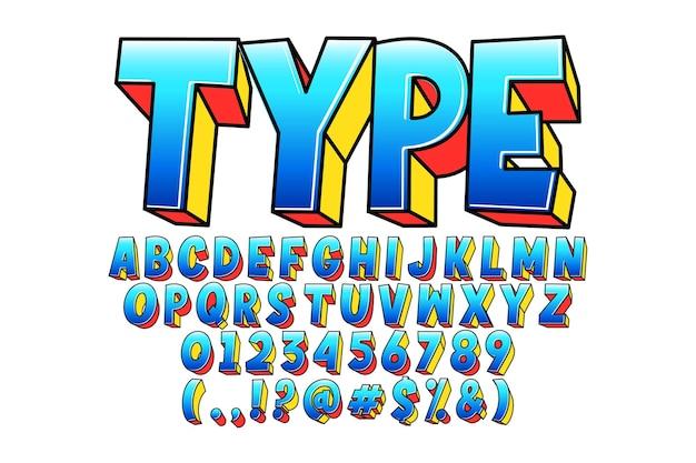 Современный мультяшный комический шрифт Бесплатные векторы