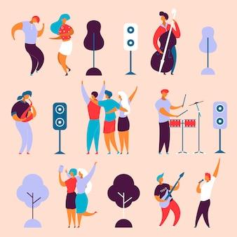 Modern cartoon flat character musical band