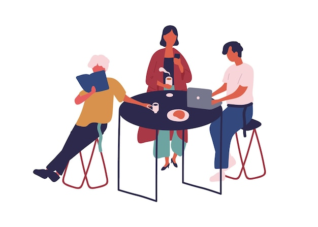 Modern cartoon people eat and drink sit at table in food court vector flat illustration. colorful man and woman read book, use laptop and smartphone, bring beverage isolated on white background.