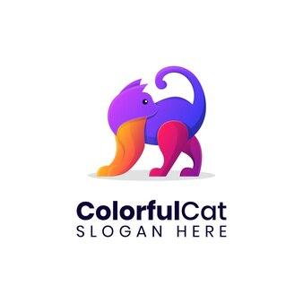 現代の猫のカラフルなロゴのテンプレート