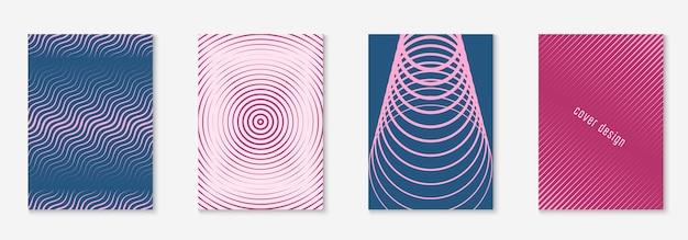 현대 카탈로그. 다채로운 연례 보고서, 폴더, 보고서, 웹 앱 모형. 보라색과 분홍색. 미니멀한 기하학적 라인과 트렌디한 모양이 있는 현대적인 카탈로그.