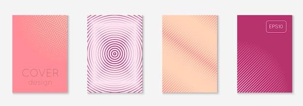 현대 카탈로그. 핑크와 퍼플. 미래의 저널, 모바일 화면, 책, 전단지 모형. 미니멀한 기하학적 라인과 트렌디한 모양이 있는 현대적인 카탈로그.