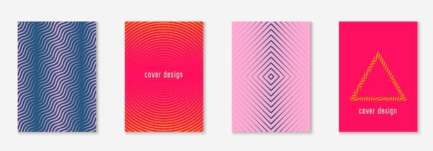 현대 카탈로그. 레트로 저널, 초대장, 인증서, 특허 개념. 오렌지와 핑크. 미니멀한 기하학적 라인과 트렌디한 모양이 있는 현대적인 카탈로그.