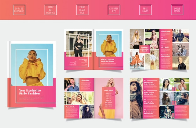 Modern catalogue template with 8 pages for vogue, new collection or photographers