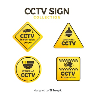 Modern cctv sign collection with flat design