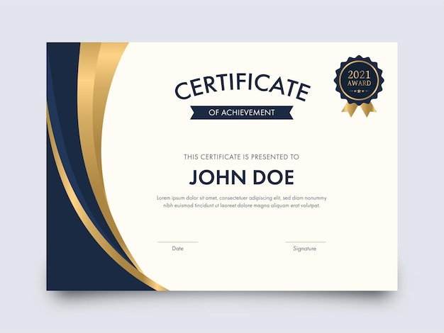 Modern certificate of achievement template design with badge illustration.