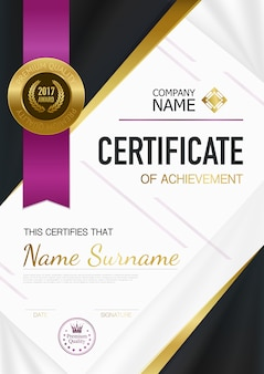 Modern certificate of achievement template