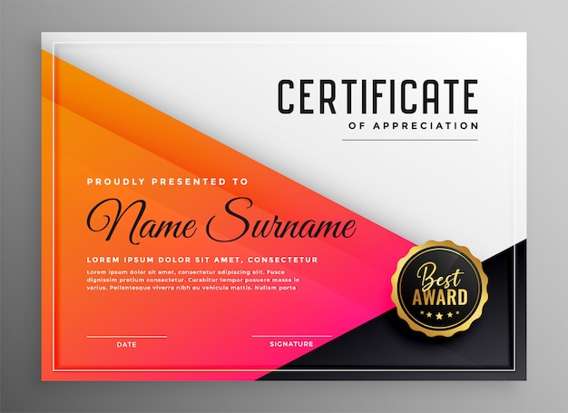 Modern certificate of appreciation template