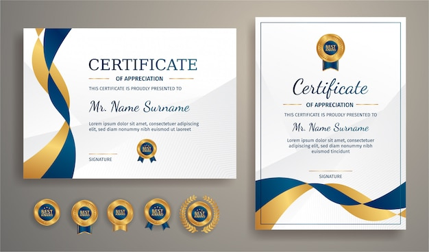 Modern certificate in blue and gold with gold badge and border  template