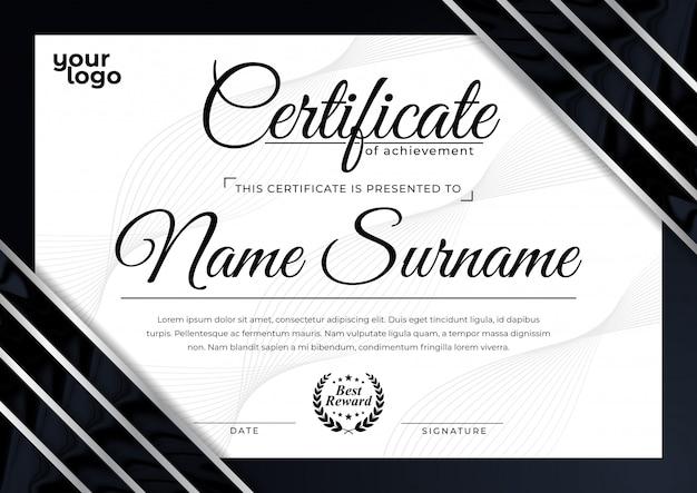 Modern certificate design template for achievement reward