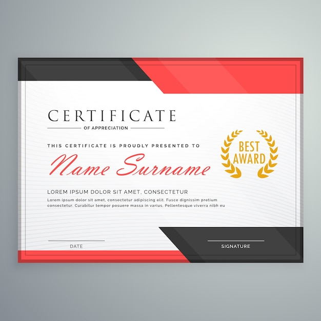 Free Modern Certificate Design With Geometric Red And Black Shapes Svg Dxf Eps Png Cutting Tool Vectors Photos And Psd Files Free Download