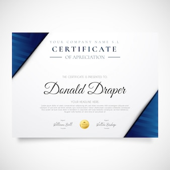 Modern certificate flyer with blue shapes