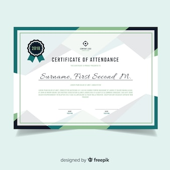 Modern certificate template in flat design
