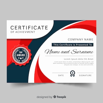 Modern certificate template in flat style