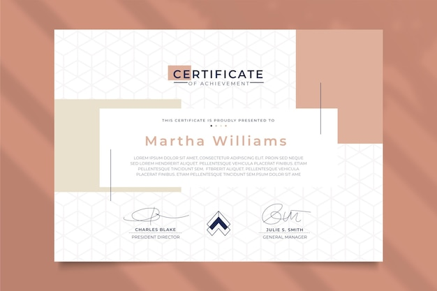 Modern certificate template geometric style
