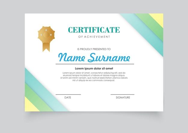 Современный шаблон сертификата градиенты цветового дизайна. легко для печати.