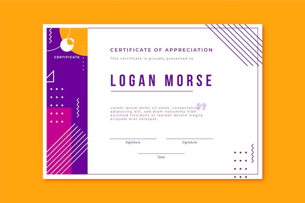 Modern certificate template in memphis style
