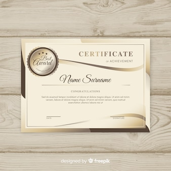 Modern certificate template with abstract shapes