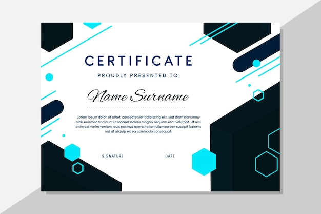 Modern certificate template with hexagonal shapes