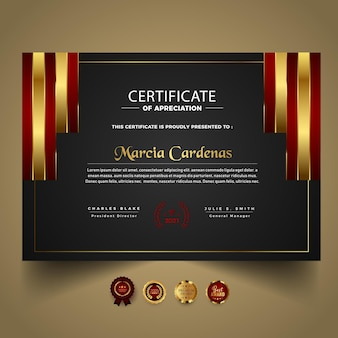 Modern certificate template with red shapes