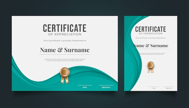 Modern certificate template with wavy paper cut