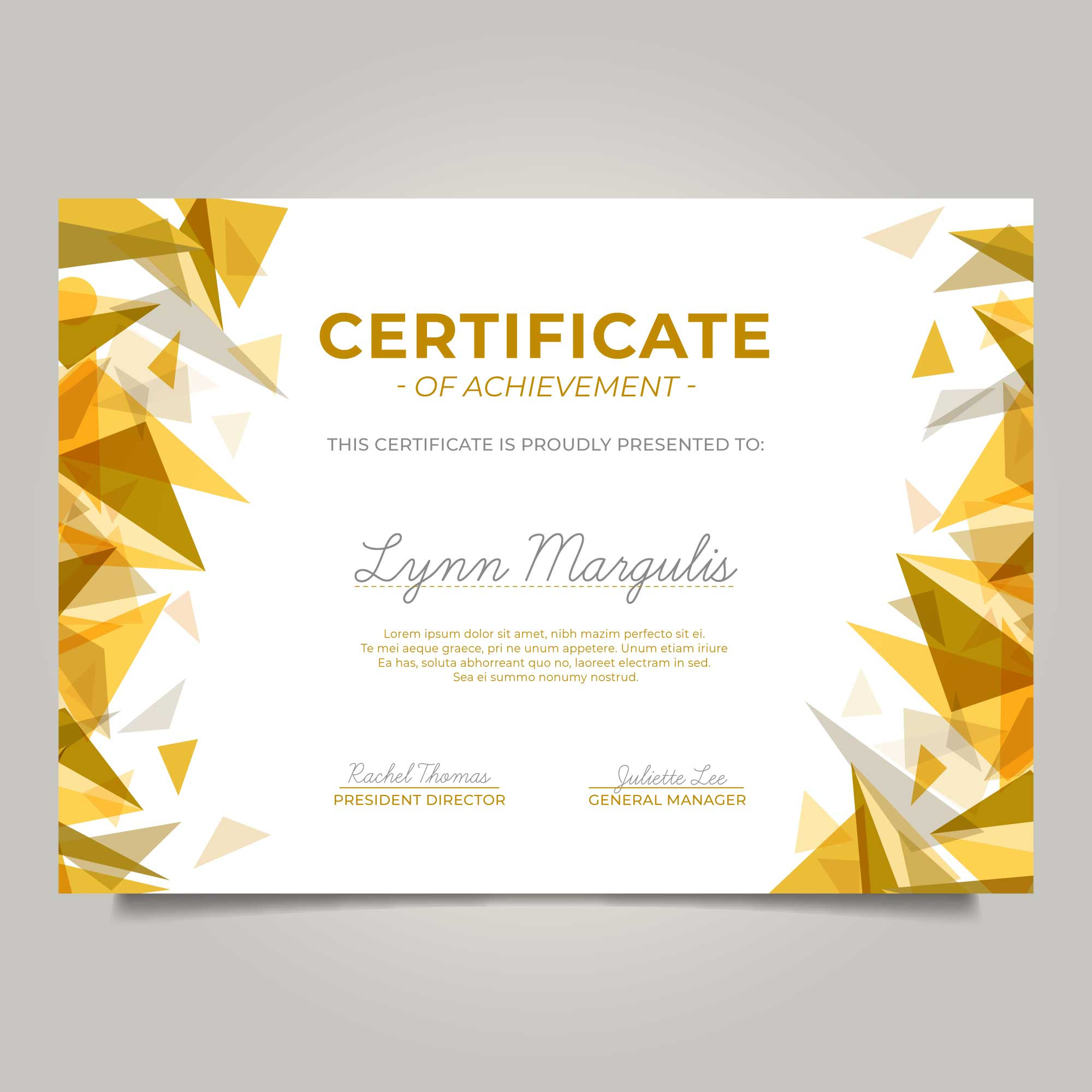 Modern certificate with golden triangles