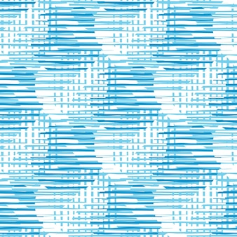 青い色のモダンな混沌としたパターンの円の線。抽象的な円の形とストライプのシームレスなパターンの図。
