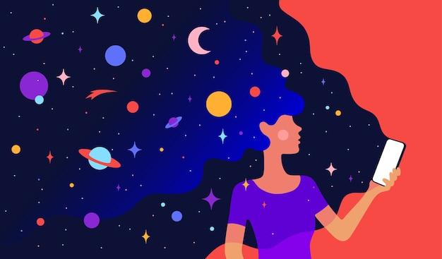 현대적인 성격. 우주를 가진 여자 여자의 캐릭터는 머리카락과 손에 전화를 꿈꿉니다. 외로움과 고독 인터넷 개념에 여자입니다. 다채로운 현대 미술 스타일.