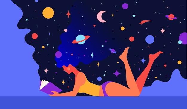 モダンなキャラクター。夢の宇宙を持つ女性は開いた本を読みます。