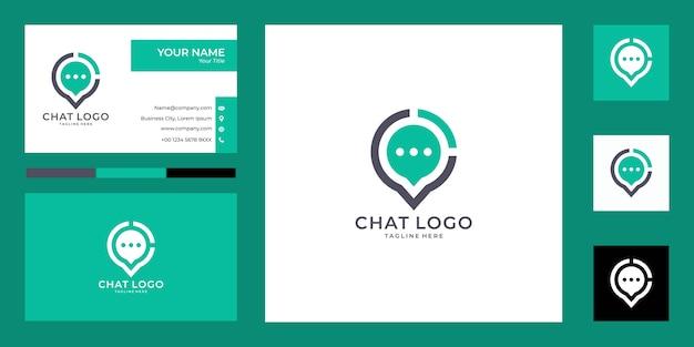 Современный чат и дизайн логотипа булавки и визитной карточки