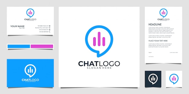 Modern chat and graph  logo and business card