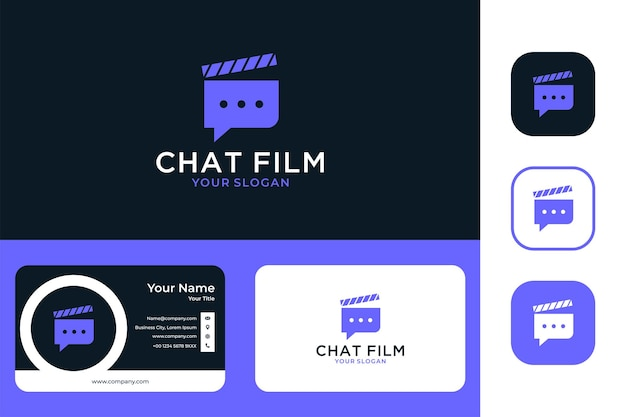 Modern chat message with film logo design and business card