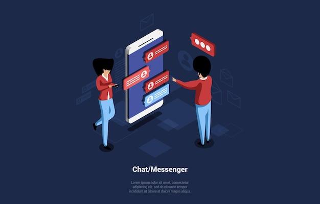 Современный чат или мессенджер мультфильм изометрические иллюстрации. композиция на темном фоне с персонажами. мужчина и женщина общаются друг с другом через смартфон с помощью текстовых пузырей.